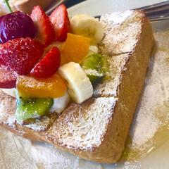 フレンチトースト/季節のフルーツ/わたしのごはん 季節のフルーツフレンチトースト❤️ パン…