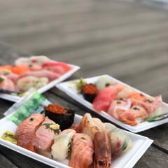 海鮮/寿司/わたしのごはん/至福のひととき/おでかけ/旅行 旅をした時の豪華朝ごはん。  朝からお寿…