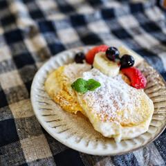 お菓子/お菓子作り/おやつ/スイーツ/sweets/フルーツ/... フルーツパンケーキを作りました(*' ▽…