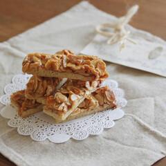 お菓子/スイーツ/sweets/お菓子作り/おやつ/フロランタン/... アーモンドフロランタンを作りました(*'…(1枚目)