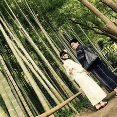 鎌倉/散歩/浴衣/竹林/自然/おでかけワンショット 鎌倉の竹林を浴衣でお散歩してきました。