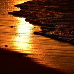 日出/朝日/砂浜/朱色 日出の砂浜を撮影しました。