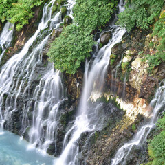 川/滝/北海道/美瑛 北海道は美瑛の白ひげの滝です。 川の水が…