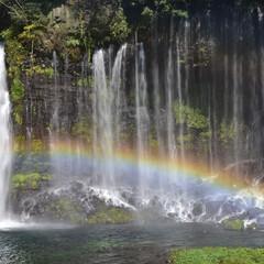滝/白糸の滝 白糸の滝です。  丁度、滝に日が当たり虹…