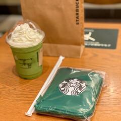 レジ袋有料化/抹茶クリームフラペチーノ/スターバックスコーヒー/エコバッグ 今日からレジ袋有料、、、 自分もエコバッ…