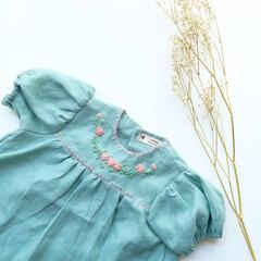 刺繍/ブラウス/ワンピース/子供服/ベビー服   小さなプリンセスをイメージして お袖…