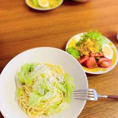 クチポール GOA ディナー フォーク スプーン セット | クチポール(その他キッチン、日用品、文具)を使ったクチコミ「お昼ご飯にキャベツとしらすのパスタ。  …」