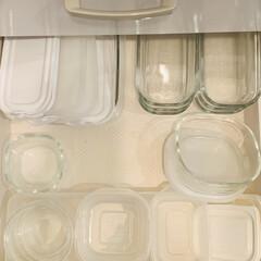 イワキ 保存容器 パック&レンジ 角型 4点セット ホワイト PTY-PRN-4W(食品保存容器)を使ったクチコミ「タッパーは本体と蓋とを分けて収納していま…」