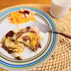 イッタラ プレート オリゴ Origo 26cm ベージュ 1012055 母の日ギフト | イッタラ(皿)を使ったクチコミ「余って少し硬くなってしまったフランスパン…」