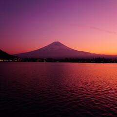 富士山/夕日/夕焼け/夕陽/マジックアワー/富士/... わたしのお気に入り富士山☆ 河口湖から見…