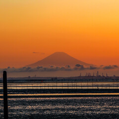 富士山/夕日/夕陽/海/夕暮れ/おでかけワンショット/... 夕日に染まる富士山