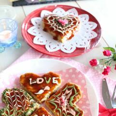バレンタイン2020/お好み焼き/LIMIAごはんクラブ/粉もん/おうちごはん/オコアート お好み焼き×バレンタイン 粉もん好きの家…