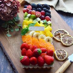 手作りタルト/タルト/レインボータルト/手作りケーキ/手作りスイーツ/グルメ/... 虹色タルトで気分も晴れやか♡