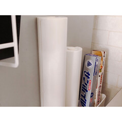 アルミホイル/クッキングシート/冷蔵庫横収納/冷蔵庫横/収納/ラップ収納/... 使用頻度の高いアルミホイルとクッキングシ…