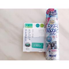 らくハピ/らくハピ エアコンの防カビスプレー 無香性 洗剤 | アース製薬(その他メイク道具)を使ったクチコミ「この2つを使ってエアコンの防カビ! カビ…」