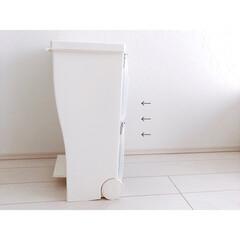 ゴミ箱 ふた付き キッチン 分別 おしゃれ ダストボックス  kcud クード ワイド ペダルペール(加湿器)を使ったクチコミ「セリアのアイテムでゴミ袋収納つくりました…」