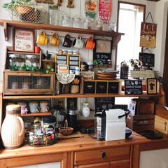ハワイアン風/カフェ/カフェコーナー/コーヒーメーカー☕️/マグカップ/ハワイアン/... 温かい飲み物が欲しくなるこれからの季節☺…