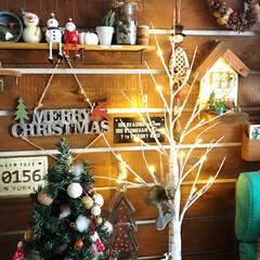 リース作り/クリスマス雑貨/板壁DIY/チョークアート/ライトアップ💡/白樺ツリー/... クリスマスディスプレイ🎄🎅 前から欲しか…