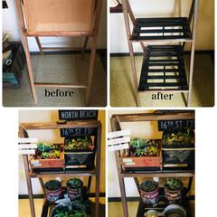 リメイク/グリーン/DIY/ディアウォール/雑貨/100均/... 使わなくなった木枠スタンドを2way玄関…