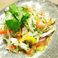 野菜料理/野菜レシピ/野菜/蒸し鶏/簡単レシピ/簡単メニュー/... 【🥗蒸し鶏と彩り野菜の中華サラダ🥗】 お…