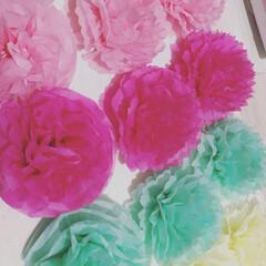 花/誕生日/旦那/装飾/リミアな暮らし 旦那の誕生日の装飾用に、 私が初めて作っ…