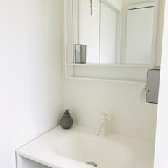サンワカンパニー/洗面所インテリア/小掃除/生活の知恵/掃除/インテリア/... 一階の手洗いは、マットホワイトです。 こ…
