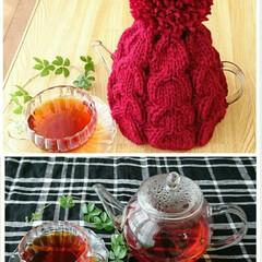 毛糸/編み物/ティーコゼー/雑貨/ダイソー/キッチン/... 余り毛糸でティーポットさんにセーター… …