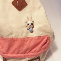 羊毛フェルト/ハンドメイド/北欧インテリア/生活雑貨/手作りアクセサリー フレーム中から ウサギちゃんを出て来る