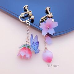 桜/イヤリング/フォロー大歓迎/ハンドメイド/ファッション/小さい春 桜のアイテムを準備できましたか? アシン…
