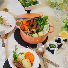 cooking/料理/ル・クルーゼ/お家ご飯/ポトフ ル・クルーゼでポトフ  野菜をたっぷり入…