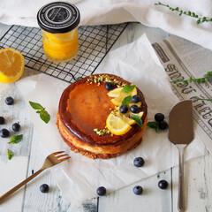 レモン/ピスタチオ/スイーツ/おうちカフェ/レモンチーズケーキ/ベイクドチーズケーキ/... 久しぶりにベイクドレモンチーズケーキを焼…