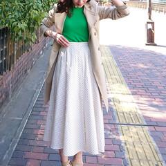 fashion/code/outfit/ファッション/コーデ/カラー/... zaraのグリーンのニットとuniqlo…