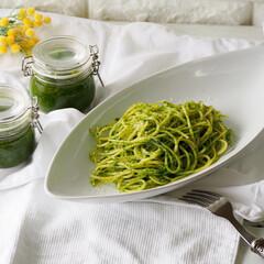 レシピ/お家ご飯/パセリジェノベーゼ/お家カフェ/パセリ/ジェノベーゼ/... パセリでジェノベーゼ🌿   いつか作って…