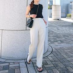 CHANEL/プチプラコーデ/ママコーデ/ママファッション/シンプル/高見えパンツ/... uniqloのハイウエストワイドパンツ …