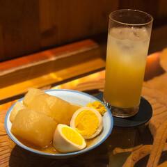 はじめてフォト投稿/和歌山/Bar/バー/地酒/地酒BAR/... 桃山の桃酒とおでん。