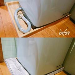 洗濯機周り/ホース隠し/リメイクシート/カラーボード/ダイソー/100均/... 洗濯機のホースを隠したくて カラーボード…
