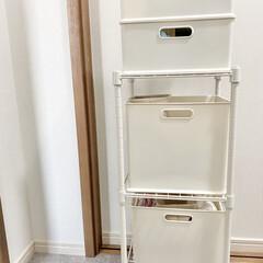 洗面所収納/洗面所/衣類収納/棚収納/棚/パイプ棚/... 洗面所収納に使用しているパイプ棚。 出す…