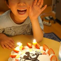 誕生日/息子/5歳/ケーキ/ミッキー/はじめてフォト投稿 息子5歳の誕生日! ケーキはいつもママの…