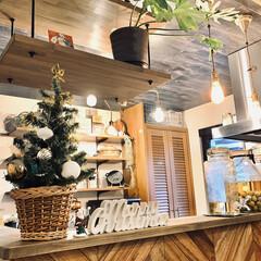 大切にしていきたいもの/インテリア/ヘリンボーン/吊り棚/カフェ風インテリア/クリスマスインテリア/... キッチンカウンター上の小さなツリー🎄 大…