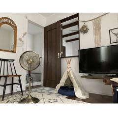 しまむらのラグ/扇風機/ティピーテント/ミラー/流木/マクラメタペストリー/... 自分の部屋を少し模様替えしました♪