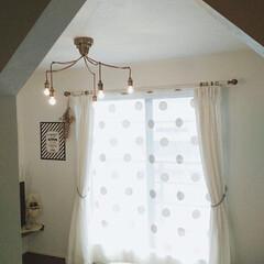 寝室/レースカーテン/ドット/水玉/ペンダントライト/インテリア/... 私の寝室(夫婦別部屋)のペンダントライト…