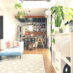 注文住宅/カフェ風/インダストリアル/吹き抜け/観葉植物のある暮らし/インテリア/... リビング。 グリーンを所々に配置していま…