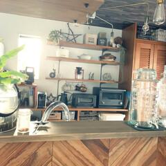バルミューダ/見せる収納/ヘリンボーン/ブラウンインテリア/カフェ風インテリア/キッチン家電/... 好きな物に囲まれたキッチンが好き♡