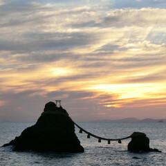 夫婦岩/日の出/おでかけワンショット 夫婦岩の日の出。 この日は少し曇り。