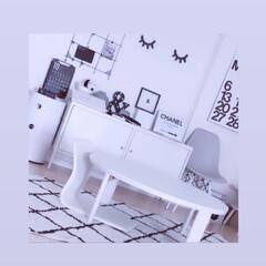 ニトリらぐ/白黒グレー/ホワイトインテリア/ホワイト/キャビネット/IKEA/... モノトーン大好き💕