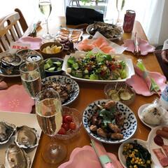 お家カフェ/桜/花見/シャンパン/昼から飲んじゃう/生牡蠣/... 引越し祝いパーティーOpen☆ 桜の咲く…