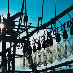 函館/北海道/夏/船/漁港/釣り/... 函館名物、いさりび イカ釣り漁船のランプ…