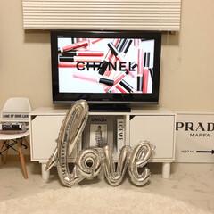 カラボ/テレビボードDIY/テレビボード/テレビ台/カラーボックスdiy/カラーボックス横置き/... カラーボックス・天板・脚で作った テレビ…