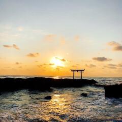朝活/鳥居/パワースポット/海/みんなにおすすめ 朝活で日の出を見に大洗へ! 朝活最高!