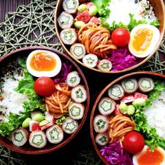 おうちごはん/bento/cooking/lunch/お昼ごはん/常備菜/... 2019.6.12 オクラの肉巻き弁当で…